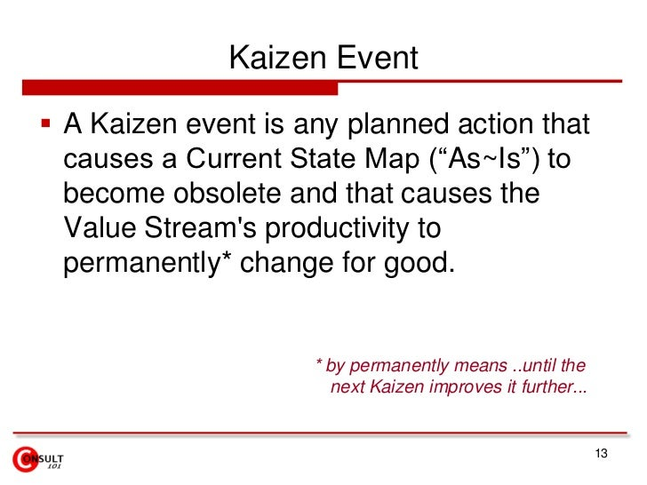 """Kaizen Event<br />A Kaizen event is any planned action that causes a Current State Map (""""As~Is"""") to become obsolete and th..."""