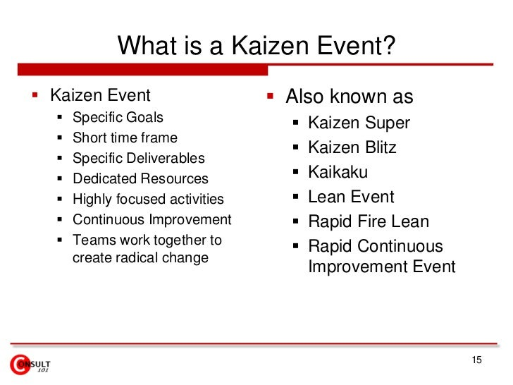 What is a Kaizen Event?<br />Kaizen Event<br />Specific Goals <br />Short time frame <br />Specific Deliverables <br />Ded...