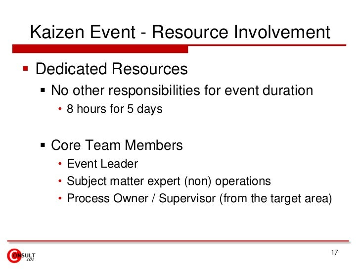 Kaizen Event - Resource Involvement<br />Dedicated Resources<br />No other responsibilities for event duration <br />8 hou...