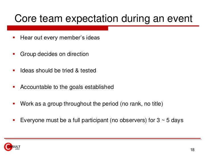 Core team expectation during an event<br />Hear out every member's ideas<br />Group decides on direction <br />Ideas shoul...