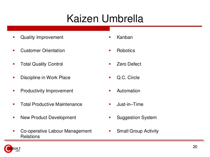 Kaizen Umbrella<br />Quality Improvement<br />Customer Orientation<br />Total Quality Control<br />Discipline in Work Plac...