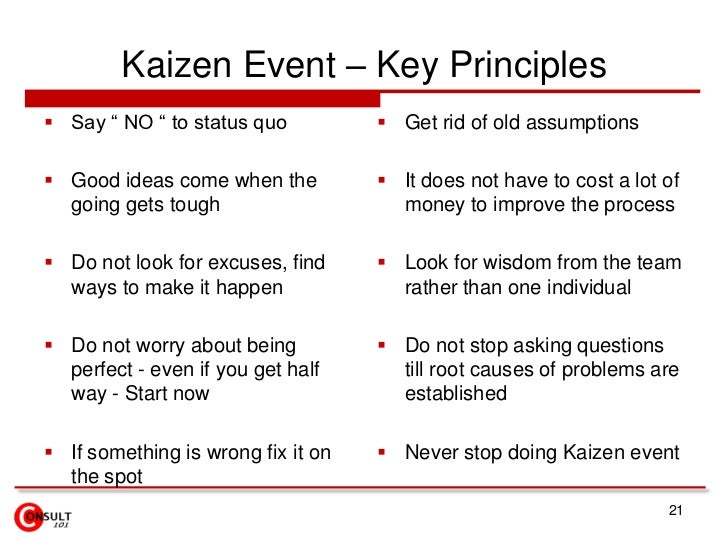 """Kaizen Event – Key Principles<br />Say """" NO """" to status quo <br />Good ideas come when the going gets tough<br />Do not lo..."""