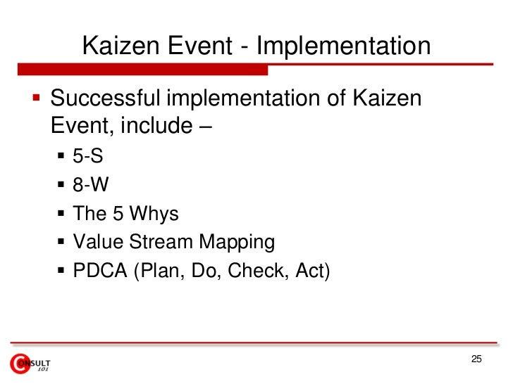 Kaizen Event - Implementation<br />Successful implementation of Kaizen Event, include –<br />5-S<br />8-W <br />The 5 Whys...
