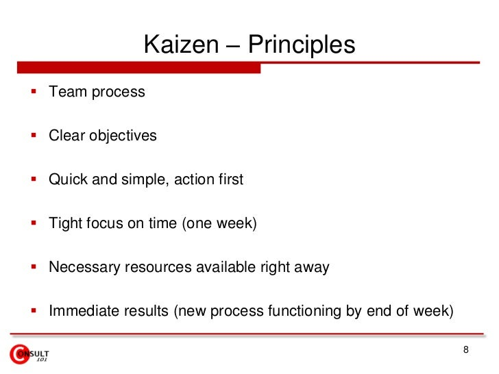 Kaizen – Principles<br />Team process<br />Clear objectives<br />Quick and simple, action first<br />Tight focus on time (...