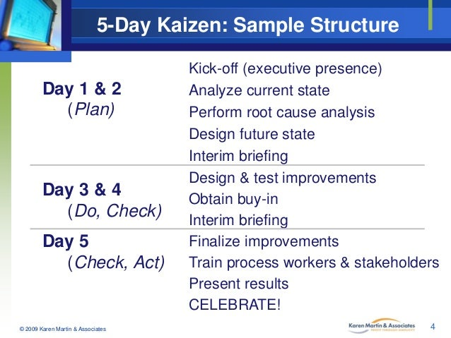 5-Day Kaizen: Sample Structure Day 1 & 2 (Plan)  Day 3 & 4 (Do, Check) Day 5 (Check, Act)  © 2009 Karen Martin & Associate...