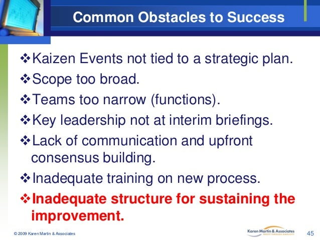 Common Obstacles to Success Kaizen Events not tied to a strategic plan. Scope too broad. Teams too narrow (functions). ...