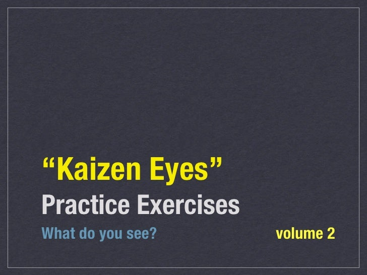 """Kaizen Eyes""Practice ExercisesWhat do you see?     volume 2"