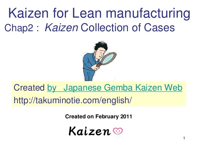 1 Created on February 2011 Kaizen for Lean manufacturing Chap2 : Kaizen Collection of Cases Created by Japanese Gemba Kaiz...