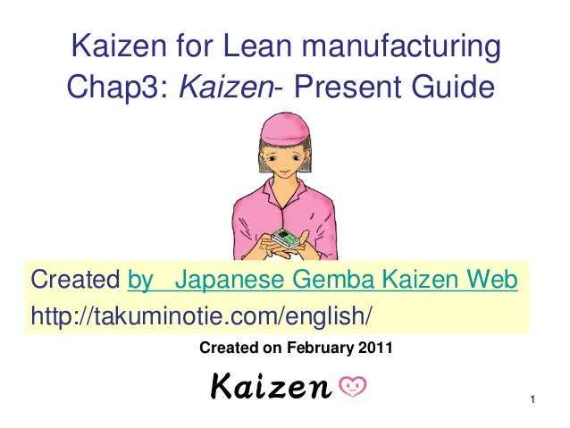 1 Kaizen for Lean manufacturing Chap3: Kaizen- Present Guide Created on February 2011 Created by Japanese Gemba Kaizen Web...