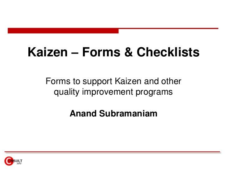 Kaizen – Forms & Checklists