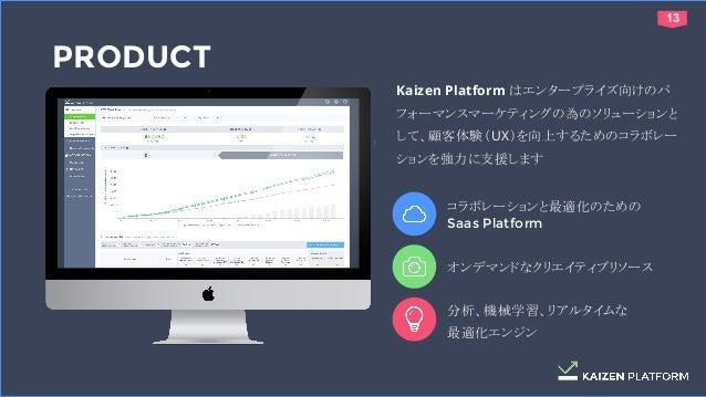 1313 PRODUCT Kaizen Platform はエンタープライズ向けのパ フォーマンスマーケティングの為のソリューションと して、顧客体験(UX)を向上するためのコラボレー ションを強力に支援します コラボレーションと最適化のための...