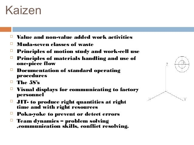 Kaizen Value and non-value added work activities Muda-seven classes of waste Principles of motion study and work-cell u...