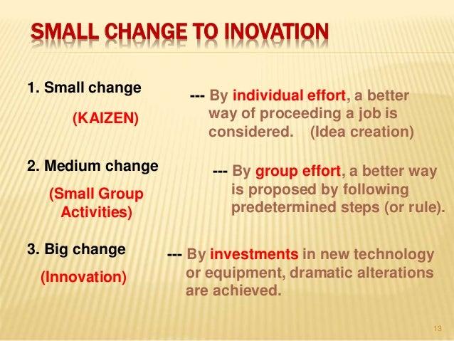 SMALL CHANGE TO INOVATION 1. Small change 2. Medium change 3. Big change (KAIZEN) (Small Group Activities) (Innovation) --...
