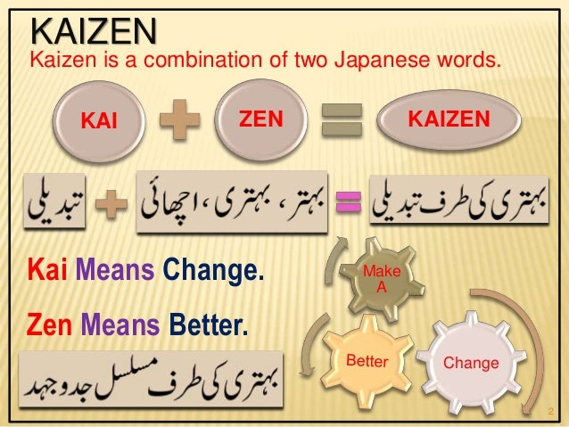 KAIZEN Kai Means Change. Zen Means Better. Kaizen is a combination of two Japanese words. Change Make A KAI ZEN KAIZEN 2
