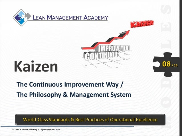 © Lean & Mean Consulting. All rights reserved. 2015© Lean & Mean Consulting. All rights reserved. 2016 08/ 16 Kaizen The C...