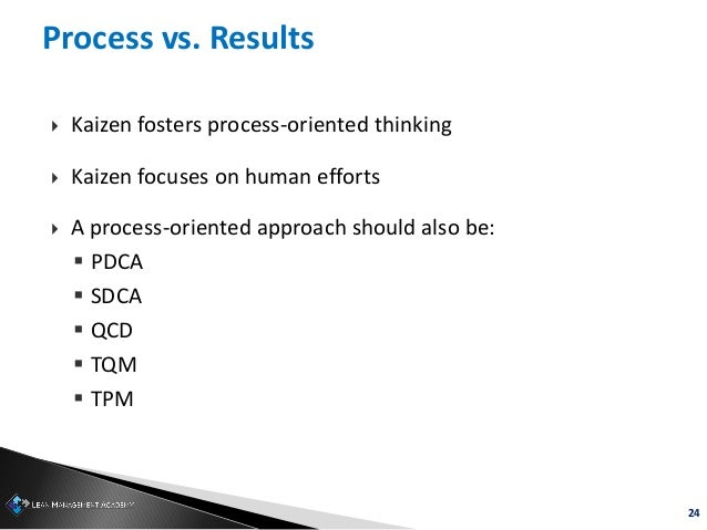 24 Process vs. Results  Kaizen fosters process-oriented thinking  Kaizen focuses on human efforts  A process-oriented a...