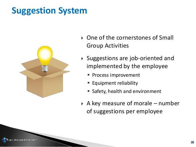 28 Suggestion System  One of the cornerstones of Small Group Activities  Suggestions are job-oriented and implemented by...