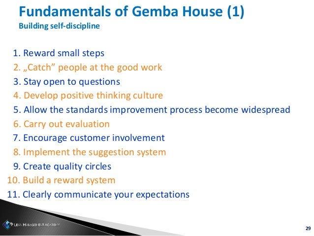 """29 Fundamentals of Gemba House (1) Building self-discipline 1. Reward small steps 2. """"Catch"""" people at the good work 3. St..."""