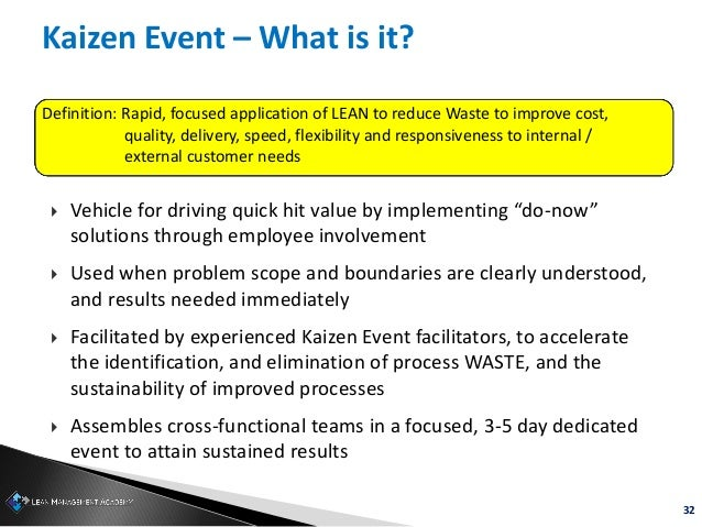 """32 Kaizen Event – What is it?  Vehicle for driving quick hit value by implementing """"do-now"""" solutions through employee in..."""