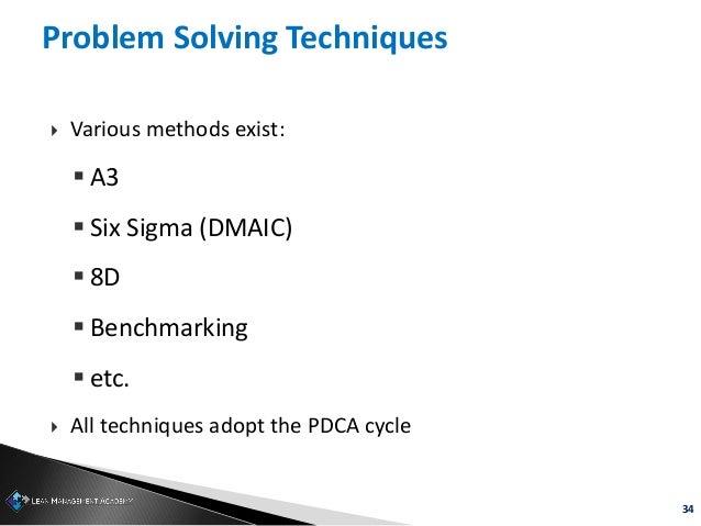 34 Problem Solving Techniques  Various methods exist:  A3  Six Sigma (DMAIC)  8D  Benchmarking  etc.  All technique...