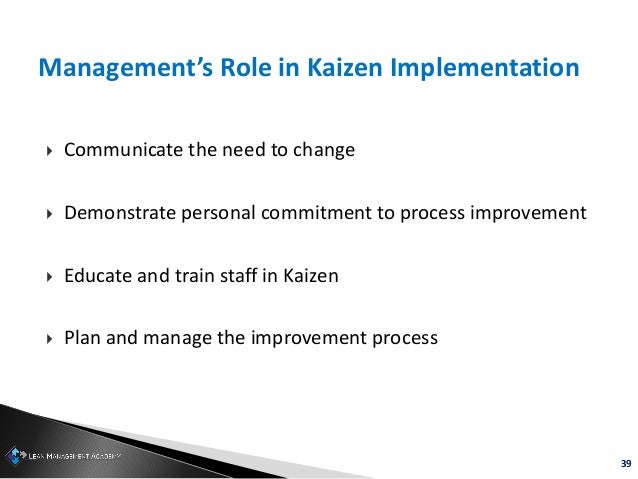 39 Management's Role in Kaizen Implementation  Communicate the need to change  Demonstrate personal commitment to proces...