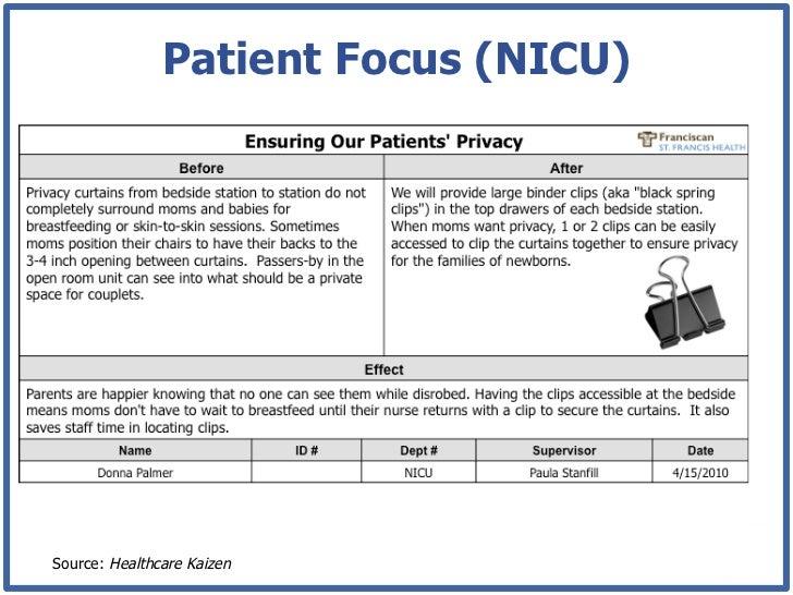 patient focus  nicu source  healthcare kaizen