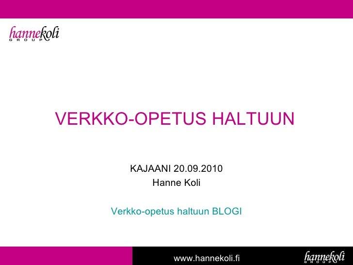 Verkko-opetus haltuun -luento 20.9.2010