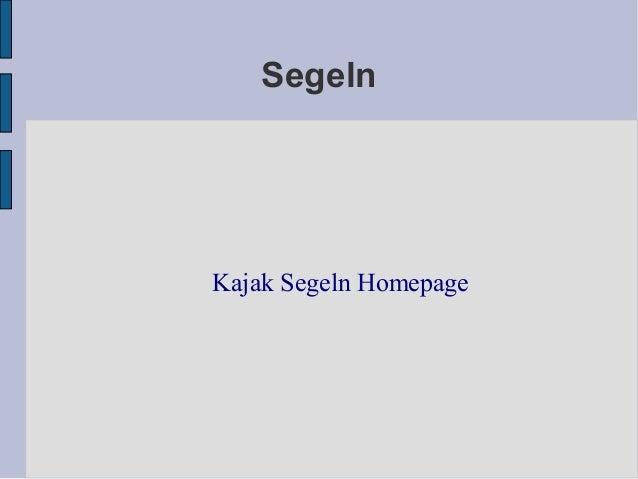 Segeln Kajak Segeln Homepage