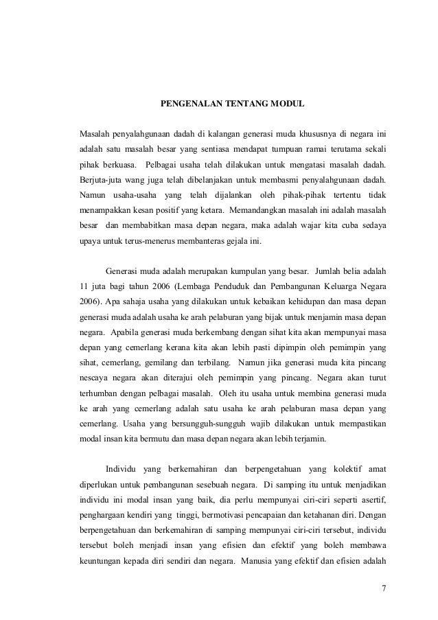 Kajian Pembinaan Modul Untuk Mencegah Penyalahgunaan Dadah Dikalangan