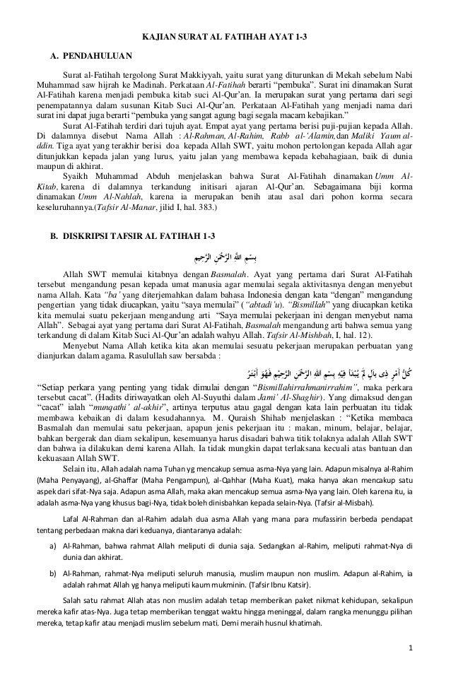 Kajian Surat Al Fatihah Ayat 1 3