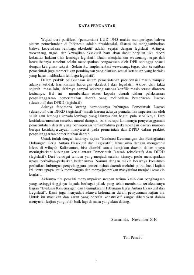 Kajian Evaluasi Kewenangan dan Peningkatan Hubungan Kerja Antara Eksekutif dan Legislatif Slide 2