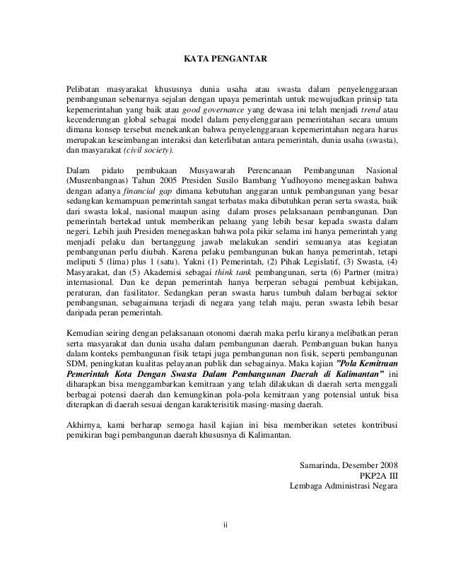 """Kajian """"Pola Kemitraan Pemerintah Kota Dengan Swasta Dalam Pembangunan Daerah di Kalimantan Slide 3"""