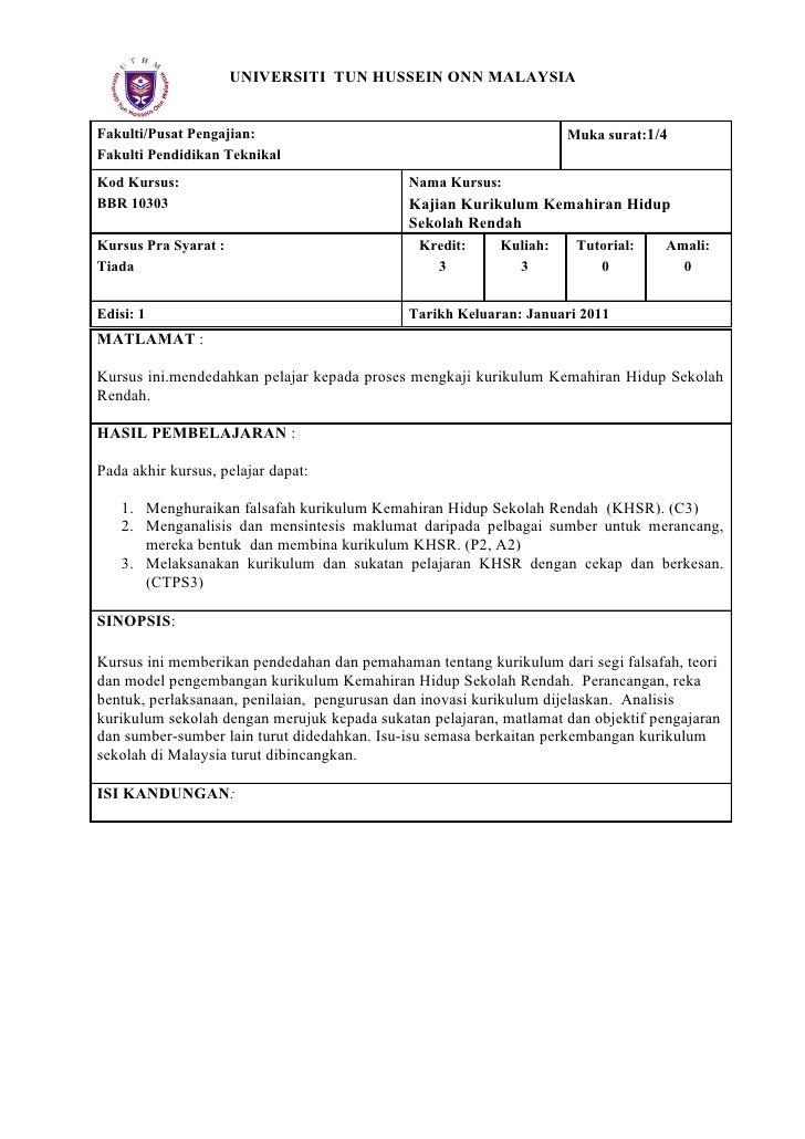 UNIVERSITI TUN HUSSEIN ONN MALAYSIAFakulti/Pusat Pengajian:                                            Muka surat:1/4Fakul...