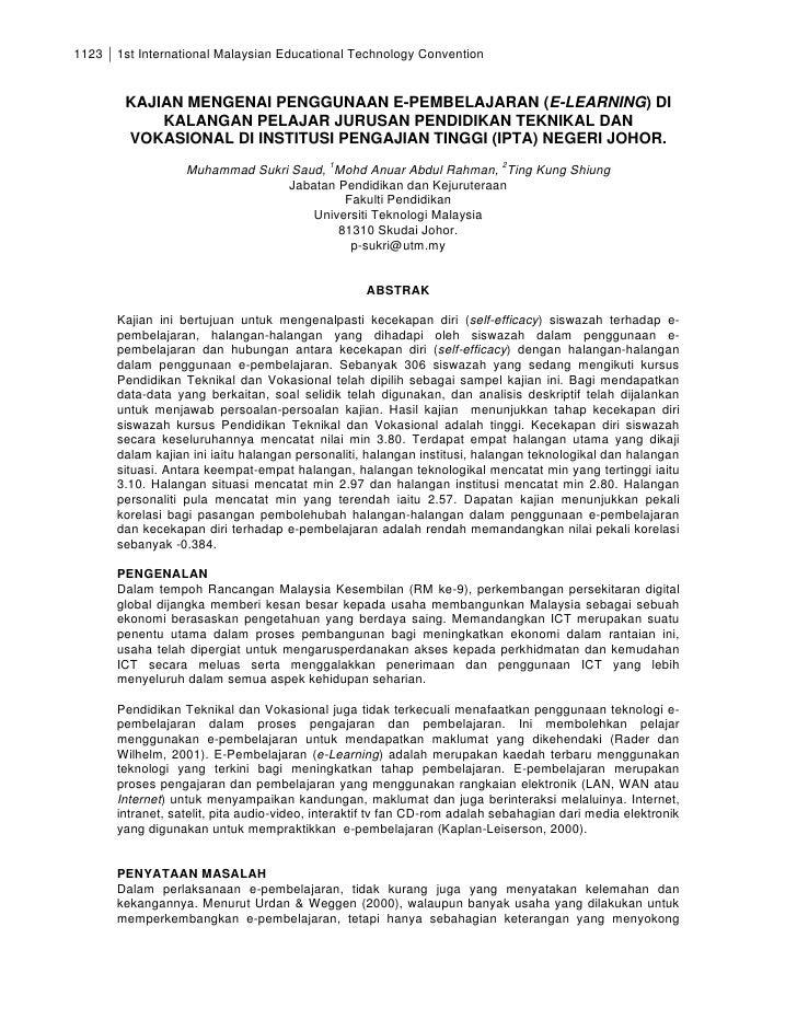 1123   1st International Malaysian Educational Technology Convention           KAJIAN MENGENAI PENGGUNAAN E-PEMBELAJARAN (...
