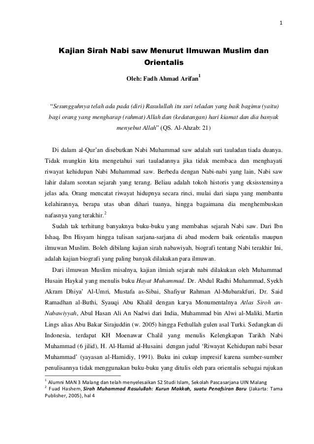 1       Kajian Sirah Nabi saw Menurut Ilmuwan Muslim dan                                        Orientalis                ...