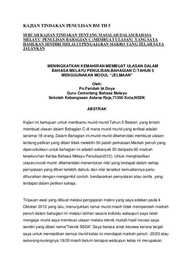 KAJIAN TINDAKAN PENULISAN BM TH 5 SEBUAH KAJIAN TINDAKAN TENTANG MASALAH DALAM BAHASA MELAYU PENULISAN BAHAGIAN C (MEMBUAT...