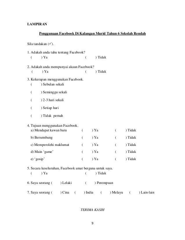 Contoh Borang Soal Selidik Obesiti Kumpulan Soal Pelajaran 9