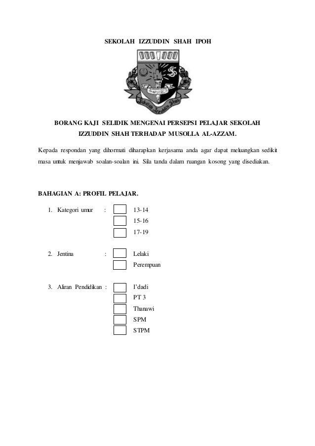 Contoh Borang Kaji Selidik Kerja Kursus Pengajian Am Penggal 2 Stpm