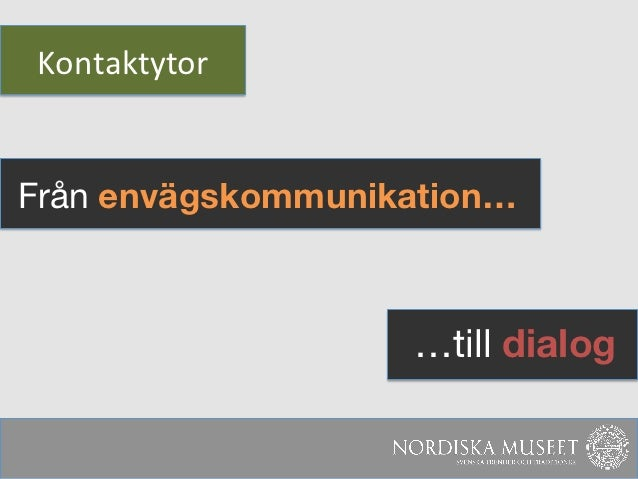 Kontaktytor Från envägskommunikation…                    …till dialog