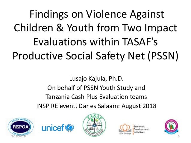 Findings on Violence Against Children & Youth from Two Impact Evaluations within TASAF's Productive Social Safety Net (PSS...