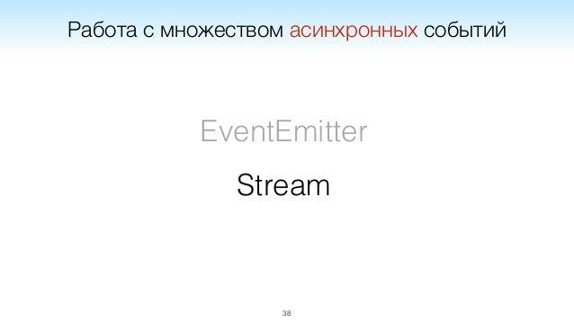 Stream 40 Примеры Node: fs.createReadStream(path) Node: gulp.src(pattern)