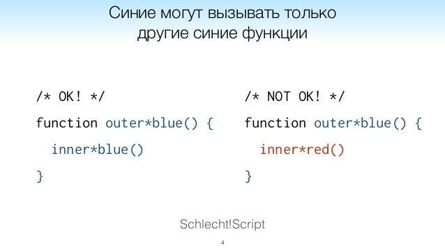 Schlecht!Script /* OK! */ function outer*blue() { inner*blue() } 4 Синие могут вызывать только другие синие функции /* NOT...