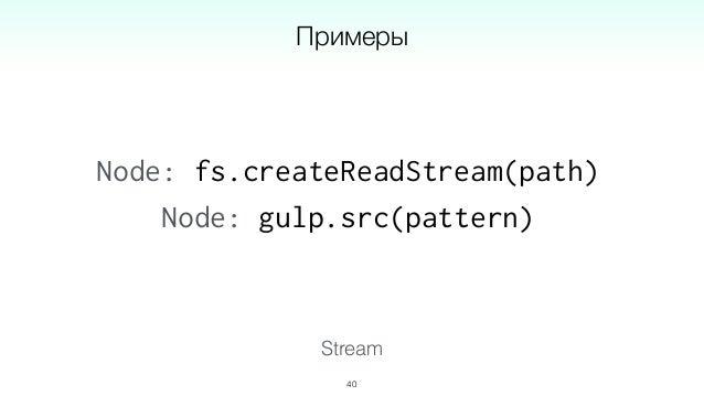 Stream 42 источник преобразование преобразование потребитель gulp.src('*.styl') stylus() autoprefixer() gulp.dest('dist') ...