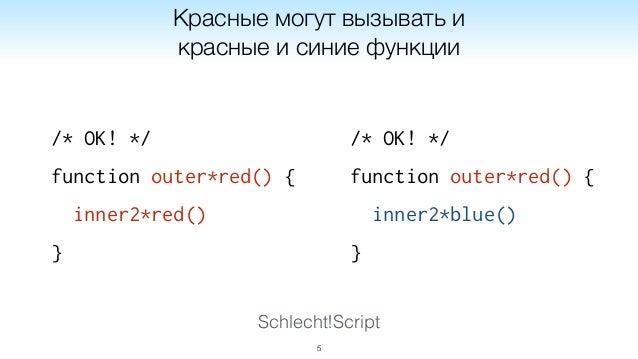 Schlecht!Script /* OK! */ function outer*red() { inner2*red() } 5 Красные могут вызывать и красные и синие функции /* OK! ...