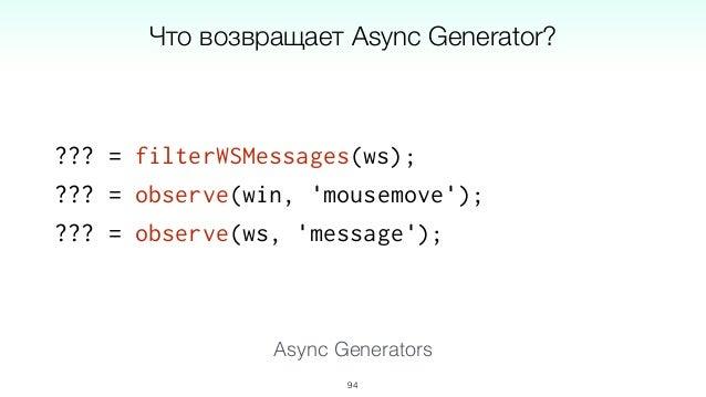Работа с асинхронными операциями: Async/Await Работа с множеством событий: Async Generators 97 ES7