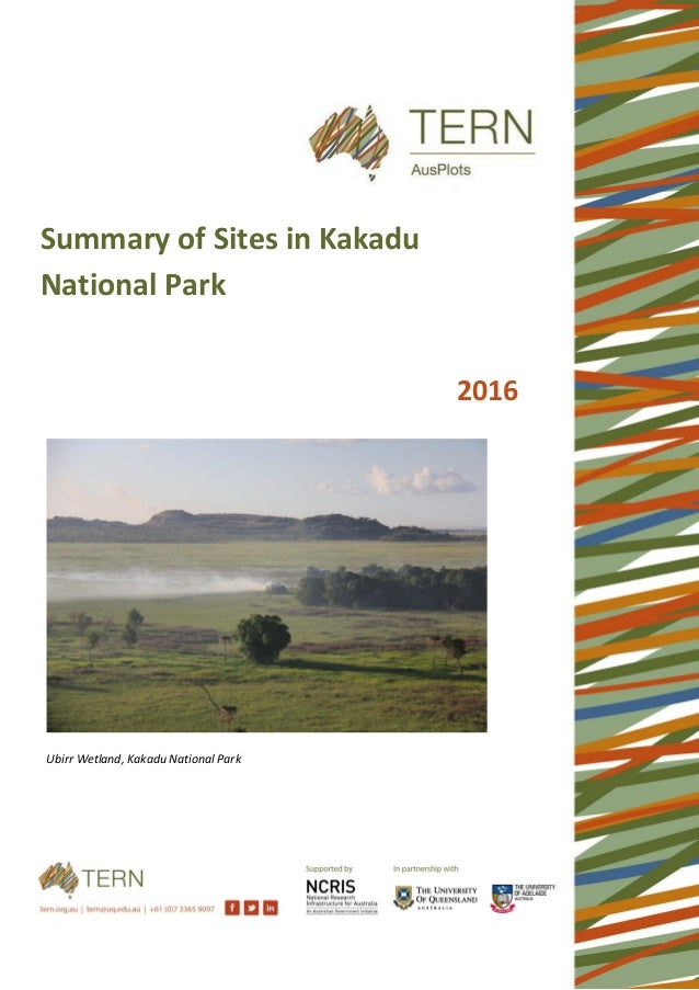 Ubirr Wetland, Kakadu National Park Summary of Sites in Kakadu National Park 2016