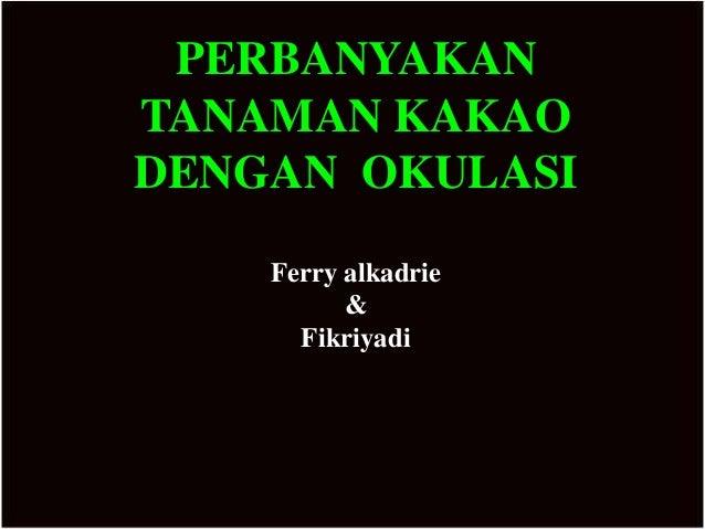 PERBANYAKANTANAMAN KAKAODENGAN OKULASI    Ferry alkadrie          &      Fikriyadi
