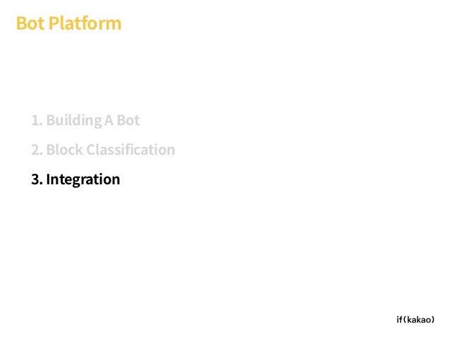 Bot Platform 1. Building A Bot 2. Block Classification 3. Integration