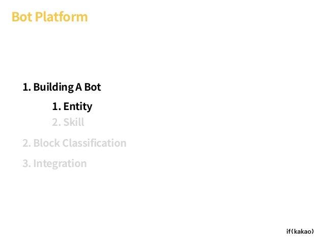 Bot Platform 1. Building A Bot 2. Block Classification 3. Integration 1. Entity 2. Skill