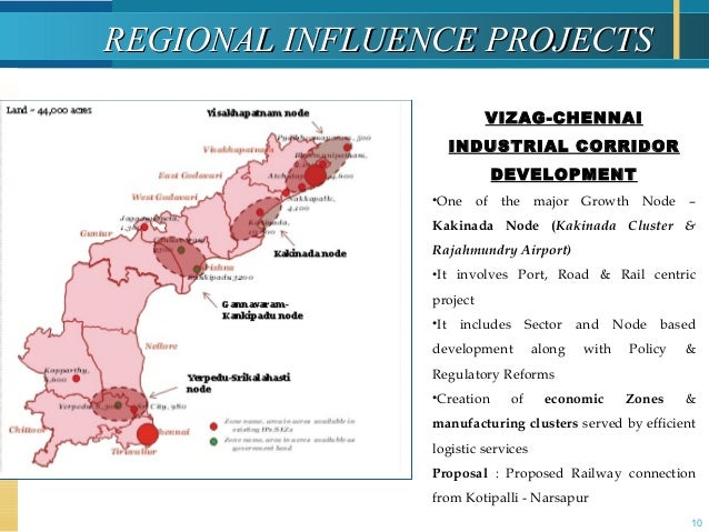 10 REGIONAL INFLUENCE PROJECTSREGIONAL INFLUENCE PROJECTS VIZAG-CHENNAI INDUSTRIAL CORRIDOR DEVELOPMENT •One of the major ...